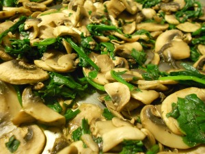 Fresh spinach and sliced mushrooms, a little dried thyme and away we go!