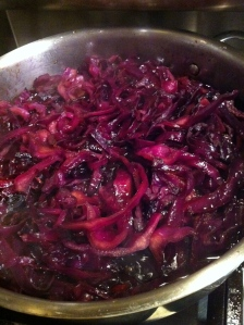 Vinegar is reducing away on the stovetop.