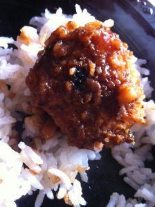 Served over white rice.