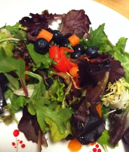 I put blueberries in my salad.