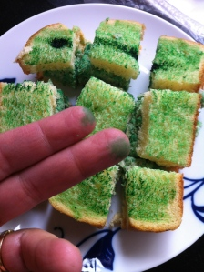 Green sandwich and fingers