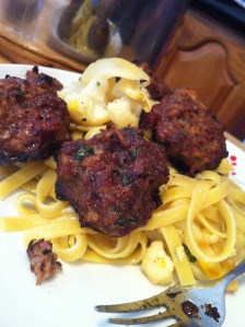 C topped his pasta with the meatballs. Pretty!