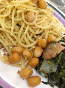 Served with sides of roasted chickpeas and onions/spinach/mushrooms sautéed with a little olive oil.