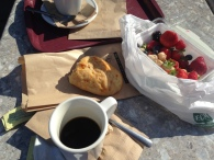 My lunch - Coffee, Bread, Fruit